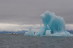 Sea kayakers, Alaska, Prince William Sound, Columbia Bay, Columbia Glacier, blue-ice iceberg,