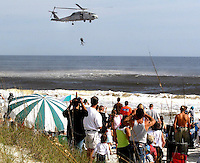 11/07/05.....Gary Wilcox/The Times Union.....The SH-60B Seahawk Search and rescue gave a demonstration  to on lookers over thefl Jacksonville Beach last Saturday during the Jacksonville Sea & Sky Spectacular at Jacksonville Beach.