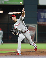 Phillies pitcher Cole Hamels on Sunday May 25th at Minute Maid Park in Houston, Texas. Photo by Andrew Woolley / Four Seam Images..