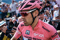 Dissapointed Maglia Rosa Tom Dumoulin (NED/Sunweb) lost more than 2 minutes after his rivals kept going after he desperatly needed to stop along the way for a ('nr2') nature break in the queen stage over the Passo dello Stelvio (alt: 2758m)<br /> <br /> Stage 16: Rovett &rsaquo; Bormio (222km)<br /> 100th Giro d'Italia 2017