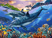 Interlitho, Lorenzo, REALISTIC ANIMALS, paintings, dolphins, fish(KL4282,#A#) realistische Tiere, realista, illustrations, pinturas ,puzzles