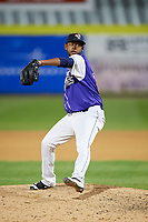 Binghamton Rumble Ponies relief pitcher Scarlyn Reyes (45) delivers a pitch during a game against the Akron RubberDucks on May 12, 2017 at NYSEG Stadium in Binghamton, New York.  Akron defeated Binghamton 5-1.  (Mike Janes/Four Seam Images)