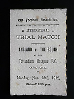 BNPS.co.uk (01202 558833)<br /> Pic: BTWAuctions/BNPS<br /> <br /> PICTURED: The four page itinerary was given to England footballers ahead of a match in 1912 for their match against The South.<br /> <br /> David Beckham was once famously lampooned for wearing his wife's underwear.<br /> <br /> But had he plied his trade 100 years before he wouldn't have been alone on the football pitch in wearing knickers, according to a fascinating document that has come to light.<br /> <br /> The four page itinerary was given to England footballers ahead of a match in 1912.<br /> <br /> In it was the instruction for all players to bring 'dark knickers' to wear during the game.