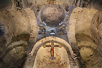 Interior view from below of the apse with spolia columns and Byzantine style arcades, Chiesa di San Cataldo (Church of San Cataldo, La Cataldo), 1154, Palermo, Sicily, Italy. The Romanesque church with Arab influences was founded by Maio of Bari, chancellor to William I, during the Norman occupation of Sicily. Picture by Manuel Cohen