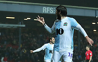 Blackburn Rovers' Danny Graham celebrates scoring his side's fourth goal and his hatrick<br /> <br /> Photographer Rachel Holborn/CameraSport<br /> <br /> The EFL Sky Bet Championship - Blackburn Rovers v Sheffield Wednesday - Saturday 1st December 2018 - Ewood Park - Blackburn<br /> <br /> World Copyright © 2018 CameraSport. All rights reserved. 43 Linden Ave. Countesthorpe. Leicester. England. LE8 5PG - Tel: +44 (0) 116 277 4147 - admin@camerasport.com - www.camerasport.com