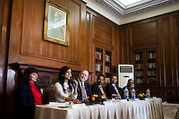 (L-R) Kathryn Deyell (DFAT), Pallavi Sharda (OzFest ambassador), Dr. Lachlan Strahan (Australian Deputy High Commissioner to India), Maharaj Narendra Singh (Maharaj of Jaipur), Nik Senapati (Rio Tinto Managing Director) and Yunus Khimani (of the Jaipur Palace) sit together as Pallavi Sharda speaks during a press conference on Oz Fest in Raj Mahal Palace hotel, Jaipur, India on 10th January 2013. Photo by Suzanne Lee/DFAT