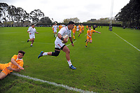 Siave Seti heads for the tryline during the rugby match between  New Zealand Schools Barbarians and NZ Maori Under-18 at the Sport and Rugby Institute in Palmerston North, New Zealand on Monday, 2 October 2017. Photo: Dave Lintott / lintottphoto.co.nz