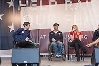 USA Paralympic athletes David Wagner (center) and Jessica Long (right) participate in the Road to London 100 Days Out Celebration in Times Square in New York City, New York, USA on Wednesday, April 18, 2012.  Times Square was transformed into an Olympic Village for the event.