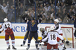 St. Louis Blues right wing Chris Stewart (25) turns and raises his hands after scoring on Columbus Blue Jackets goalie Sergei Bobrovsky (72) late in the second period during a game between the Columbus Blue Jackets and the St. Louis Blues on Friday April 5, 2013 at the Scottrade Center in downtown St. Louis.  Also shown are Blue Jacket players Columbus Blue Jackets center Artem Anisimov (42), Columbus Blue Jackets center R.J. Umberger (18), and Columbus Blue Jackets defenseman Dalton Prout (47).