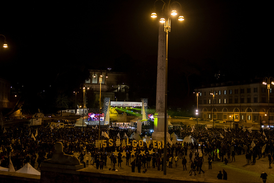 Piazza del Popolo in Rome during the Five Star Movements final rally on March 2nd 2018.