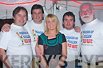 FRIENDS OF CULLAN: Getting their heads shaved the Friends of Cullan helping to raise funds for a wheelchair with a sponsored Head Shave at Glenduff House, Keilduff on Saturday l-r: Ivan Groves, Senan Raggett, Bride Howard (hairdresser), Mossey Harrington and John Lyons.   Copyright Kerry's Eye 2008
