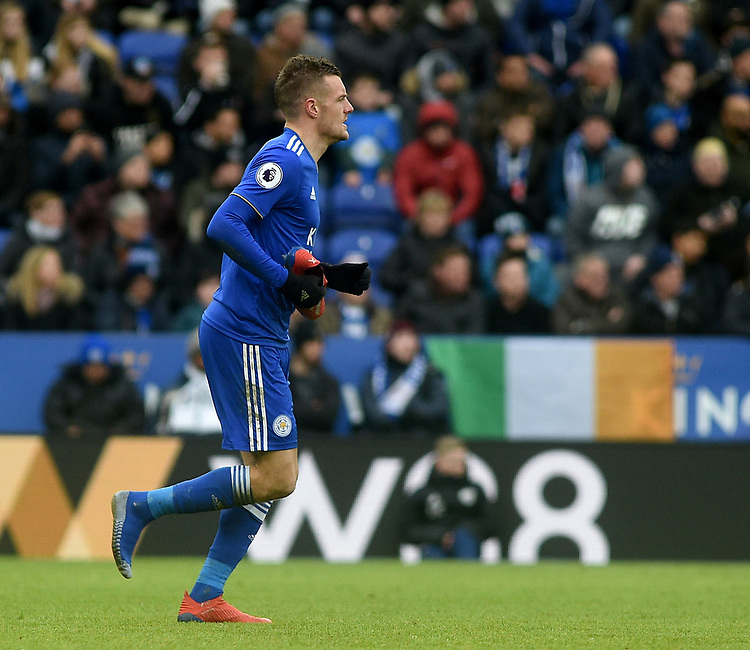Leicester City's Jamie Vardy loses his boot <br /> <br /> Photographer Hannah Fountain/CameraSport<br /> <br /> The Premier League - Leicester City v Manchester United - Sunday 3rd February 2019 - King Power Stadium - Leicester<br /> <br /> World Copyright © 2019 CameraSport. All rights reserved. 43 Linden Ave. Countesthorpe. Leicester. England. LE8 5PG - Tel: +44 (0) 116 277 4147 - admin@camerasport.com - www.camerasport.com