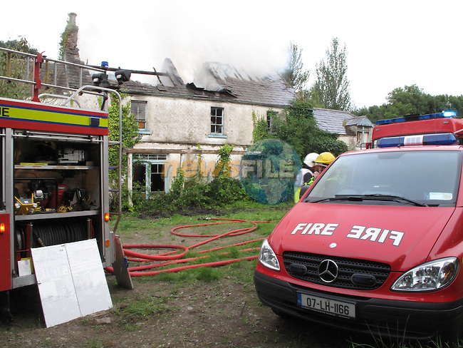 Dunleer fire service was backed up by Dundalk Fire service after there was a report of smoke coming from a two story house outside kilsaran, Four fire units and one ambulance attended the scene...Photo: Fran Caffrey/www.newsfile.ie...