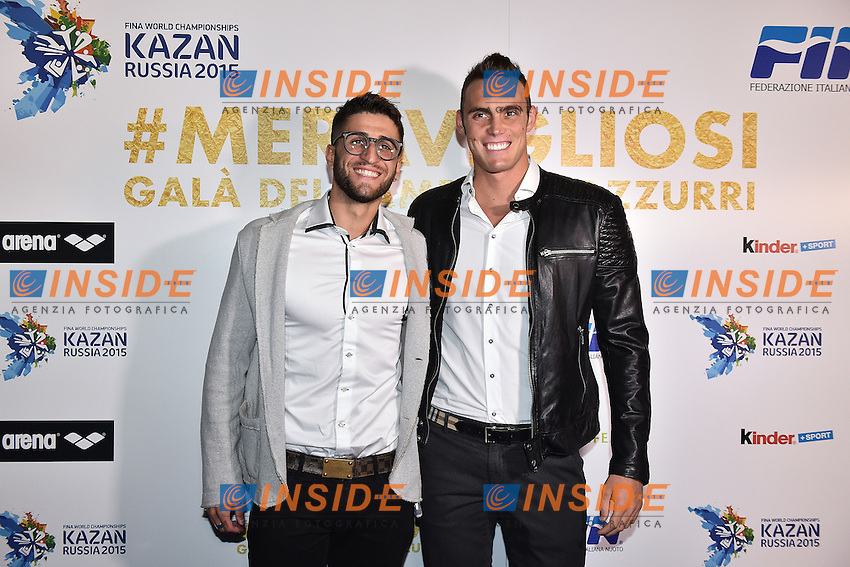 Christopher Ciccarese, Matteo Rivolta <br /> Roma 28-09-2015 Via Veneto. Meravigliosi Gala' dei Campioni organizzato dalla FIN, Federazione Italiana Nuoto per festeggiare i successi dei Mondiali di Kazan 2015 . Party of the swimming italian federation. Foto Andrea Staccioli / Insidefoto