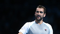 Marin Cilic of Croatia during his round robin match against Novak Djokovic of Serbia<br /> <br /> Photographer Rob Newell/CameraSport<br /> <br /> International Tennis - Nitto ATP World Tour Finals Day 6 - O2 Arena - London - Friday 16th November 2018<br /> <br /> World Copyright &copy; 2018 CameraSport. All rights reserved. 43 Linden Ave. Countesthorpe. Leicester. England. LE8 5PG - Tel: +44 (0) 116 277 4147 - admin@camerasport.com - www.camerasport.com