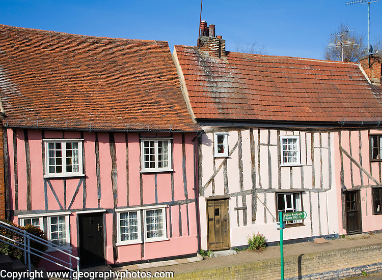 Pretty half timbered cottages, Colchester, Essex, England