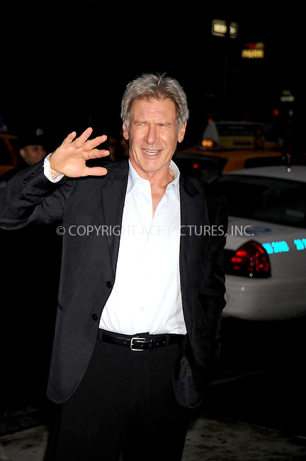 WWW.ACEPIXS.COM . . . . .....May 21, 2008. New York City.....Actor Harrison Ford attends the 'Indiana Jones and the Kingdom of the Crystal Skull' screening held at the AMC Lincoln Square Cinemas...  ....Please byline: Kristin Callahan - ACEPIXS.COM..... *** ***..Ace Pictures, Inc:  ..Philip Vaughan (646) 769 0430..e-mail: info@acepixs.com..web: http://www.acepixs.com