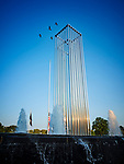 East Meadow, New York, USA. Summer 2017. Four birds fly over Twin Towers sculpture monument at Eisenhower Park 9/11 Monument section.