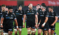Alwyn Wyn Jones of the Ospreys (C) speaks to his team mates  during the Guinness PRO14 match between Ospreys and Dragons at The Liberty Stadium, Swansea, Wales, UK. Friday 27 October 2017