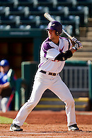 Kevin Kaczmarski (4) of the Evansville Purple Aces at bat during a game against the Indiana State Sycamores in the 2012 Missouri Valley Conference Championship Tournament at Hammons Field on May 23, 2012 in Springfield, Missouri. (David Welker/Four Seam Images)