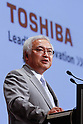 May 24th, 2011, Tokyo, Japan - President Norio Sasaki of Toshiba makes comments during a news conference in Tokyo on Tuesday, May 24, 2011. In light of the crisis at Fukushima No. 1 nuclear plant, the electronics maker may need to push back a target to capture 39 orders for nuclear reactors by several years from an original plan of March 2016. Sasaki also said Toshiba aims to more than double its operating profit to 500 billion yen in the year to March 2014, from 240.3 billion yen in the year that ended in March 2011. (Photo by AFLO) [3609] -mis-