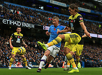 2nd November 2019; Etihad Stadium, Manchester, Lancashire, England; English Premier League Football, Manchester City versus Southampton; Jannik Westergaard of Southampton blocks the run of Kevin De Bruyne of Manchester City - Strictly Editorial Use Only. No use with unauthorized audio, video, data, fixture lists, club/league logos or 'live' services. Online in-match use limited to 120 images, no video emulation. No use in betting, games or single club/league/player publications