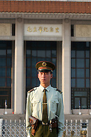Tian'anmen Square (Place of Heavenly Peace). Mao Zedong Mausoleum. Police guard.