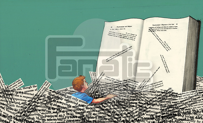 Illustrative image of boy in heap of papers reading book representing learning disability