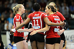 Rüsselsheim, Germany, April 13: Players of Rote Raben Vilsbiburg celebrate after winning a point during play off Game 1 in the best of three series in the semifinal of the DVL (Deutsche Volleyball-Bundesliga Damen) season 2013/2014 between the VC Wiesbaden and the Rote Raben Vilsbiburg on April 13, 2014 at Grosssporthalle in Rüsselsheim, Germany. Final score 0:3 (Photo by Dirk Markgraf / www.265-images.com) *** Local caption ***