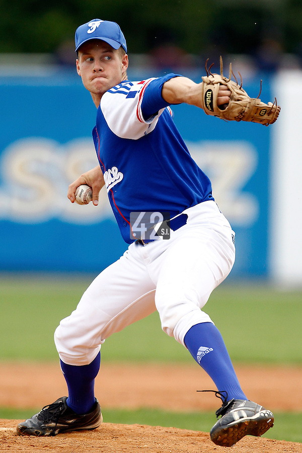22 June 2011: Gregory Cros of Team France pitches against AIST during AIST Alumni 5-3 win over France, at the 2011 Prague Baseball Week, in Prague, Czech Republic.
