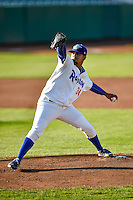 Ogden Raptors starting pitcher Roberth Fernandez (34) delivers a pitch to the plate against the Grand Junction Rockies in Pioneer League action at Lindquist Field on August 24, 2016 in Ogden, Utah. The Raptors defeated the Rockies 11-10. (Stephen Smith/Four Seam Images)