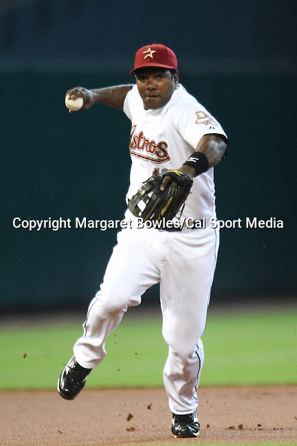 July 8, 2009:  Houston Astros shortstop Miguel Tejada makes the throw to first base. The Houston Astros defeated the Pittsburg Pirates 5-0 at Minute Maid Park in Houston, Texas. Margaret Bowles/CSM
