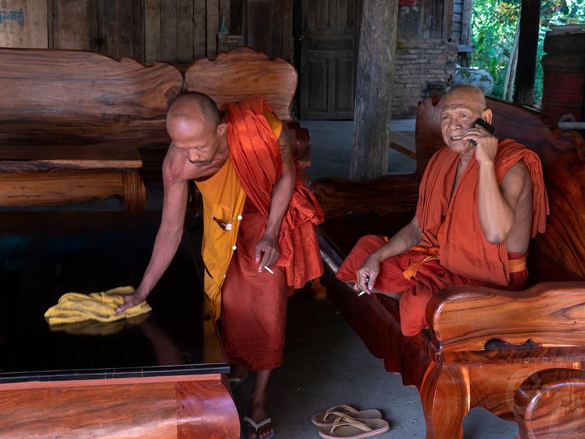 Buddhist Monks Temple area and Monastery at Aek Phnom Angkorian, 11th Century Battambang Cambodia,