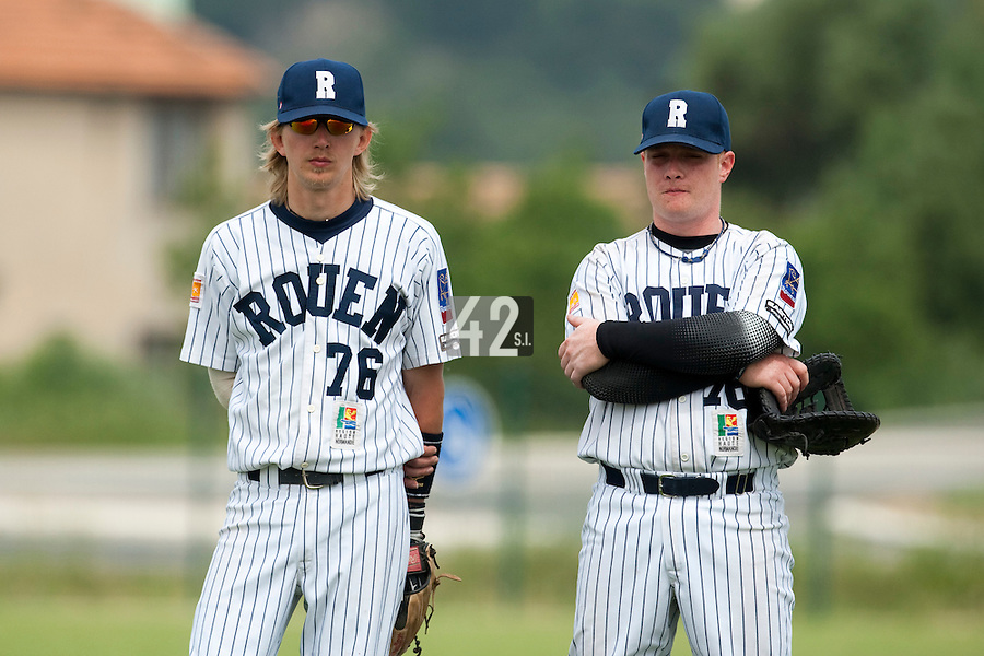 21 May 2009: Luc Piquet of Rouen is seen next to David Gauthier during the 2009 challenge de France, a tournament with the best French baseball teams - all eight elite league clubs - to determine a spot in the European Cup next year, at Montpellier, France.