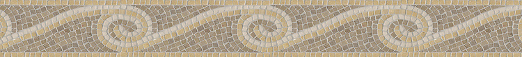 "4 1/2"" Eddies border, a hand-chopped stone mosaic, shown in tumbled Lagos Gold, Jerusalem Gold, and Saint Richard."
