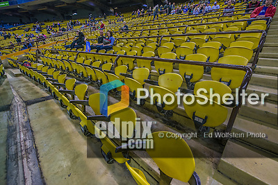 29 March 2014: The yellow seats begin to fill as a crowd of 50,229 comes to Olympic Stadium for a pre-season exhibition game between the Toronto Blue Jays and the New York Mets in Montreal, Quebec. The Blue Jays shut out the Mets 2-0 in the first MLB professional baseball series since September of 2004. The Blue Jays swept the 2-game series. Mandatory Credit: Ed Wolfstein Photo *** RAW (NEF) Image File Available ***