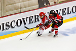 19 MAR 2016: The Division lll Women's Ice Hockey Championship is held at the Ronald B. Stafford Ice Arena in Plattsburgh, NY. Plattsburgh defeated Wis.-River Falls 5-1 for the national title.Plattsburgh's Mackenzie Millen #11 gets past opponet Dani Buehrer. Nancie Battaglia/NCAA Photos