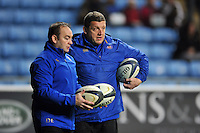 Bath Rugby First team coaches Darren Edwards and Toby Booth look on during the pre-match warm-up. European Rugby Champions Cup match, between Wasps and Bath Rugby on December 13, 2015 at the Ricoh Arena in Coventry, England. Photo by: Patrick Khachfe / Onside Images