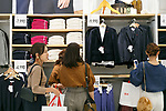 Shoppers browse clothing of Uniqlo x Ines de La Fressange AW17 collection at Uniqlo store in Ginza on September 5, 2017, Tokyo, Japan. Japanese casual clothing chain Uniqlo and French fashion icon Ines de la Fressange are collaborating with a Fall/Winter 2017 collection which is being sold in selected Uniqlo stores from September 1st. (Photo by Rodrigo Reyes Marin/AFLO)