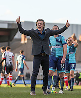 Wycombe Wanderers Manager Gareth Ainsworth gives supporters thumbs up after the Sky Bet League 2 match between Grimsby Town and Wycombe Wanderers at Blundell Park, Cleethorpes, England on 4 March 2017. Photo by Andy Rowland / PRiME Media Images.