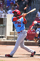 Peoria Chiefs designated hitter Elehuris Montero (39) swings at a pitch against the Cedar Rapids Kernels at Veterans Memorial Stadium on June 17, 2018 in Cedar Rapids, Iowa. The Chiefs won 12-3.  (Dennis Hubbard/Four Seam Images)