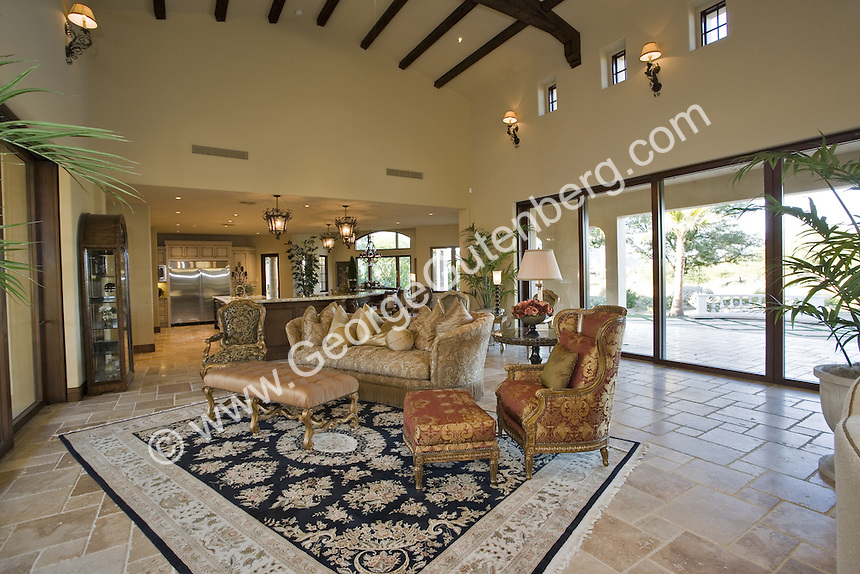 La Quinta, Tradition GC, Tuscan Villa, courtyard, traditional, travertine floor large pool
