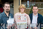 PROTEST: Local members of the People Before Profit Alliance protesting about about the Shell pipeline in Mayo at the Green Party meeting in Tralee last Thursday, l-r: Sean Moraghan (Killorglin), Mary Connolly (Tralee) Kieran McNulty (Tralee).   Copyright Kerry's Eye 2008