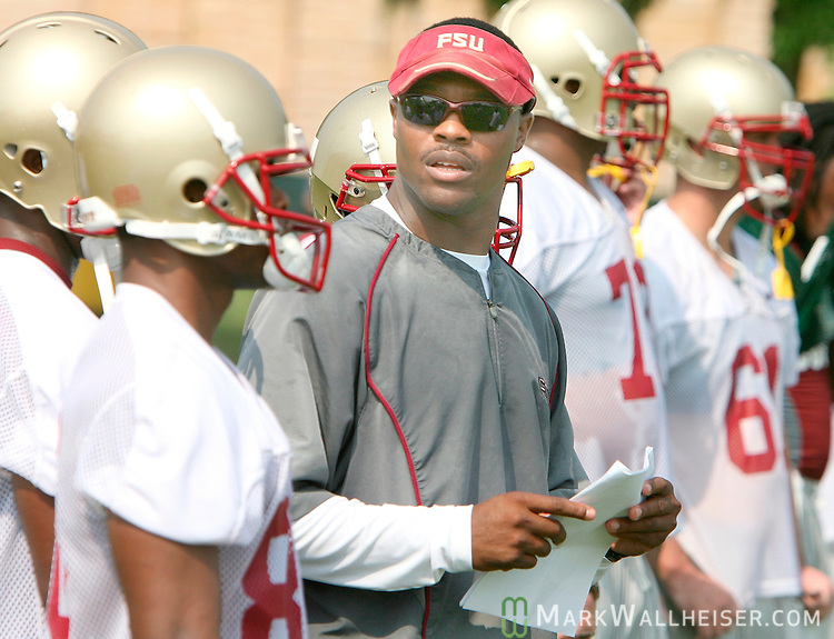 Wide receivers coach Lawrence Dawsey, center, on the second day of FSU football practice August 8, 2007.  (Mark Wallheiser/TallahasseeStock.com)