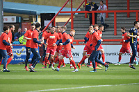 Stevenage players warm up during Stevenage vs Cambridge United, Sky Bet EFL League 2 Football at the Lamex Stadium on 14th April 2018