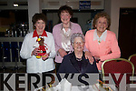 Kathleen Sayers, Eileen Sayers Roche and Doris Collins (from Knockadrageen) with Katie Donoghue (Ballynaboula) at the Senior Citizens Annual Party at the Hillgrove, Dingle, on Sunday afternoon.