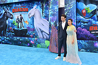"LOS ANGELES, CA. February 09, 2019: Jay Baruchel & America Ferrera at the premiere of ""How To Train Your Dragon: The Hidden World"" at the Regency Village Theatre.<br /> Picture: Paul Smith/Featureflash"