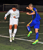 Amador Valley High School varsity soccer battles Foothill during their last home game of the regular season Thursday Feb. 13, 2014. (Photo by Alan Greth/AGP Photography