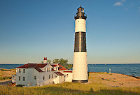 Big Sable Lighthouse warns ships of a big rounded shallow sandy point on the eastern shore of Lake Michigan jsut north of Ludington, Ludington County, Michigan