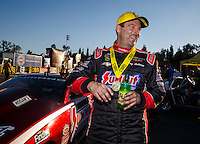 Nov 13, 2016; Pomona, CA, USA; NHRA pro stock driver Greg Anderson celebrates after winning the Auto Club Finals at Auto Club Raceway at Pomona. Mandatory Credit: Mark J. Rebilas-USA TODAY Sports